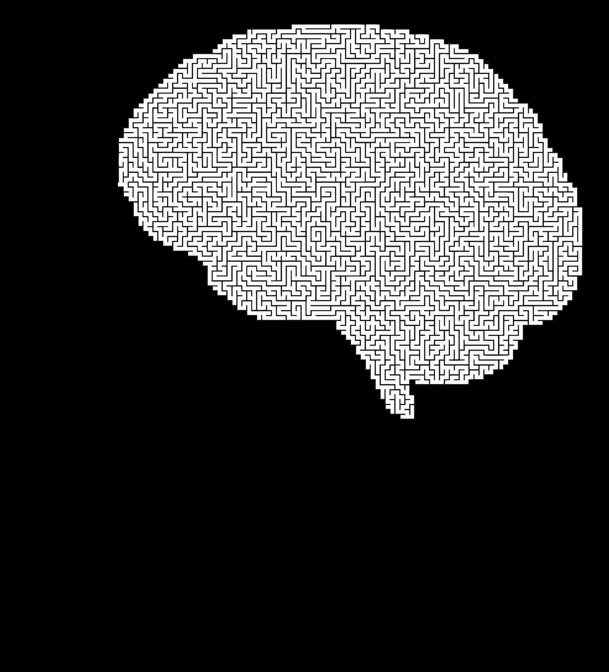 Clipart maze man silhouette. Brain vector png