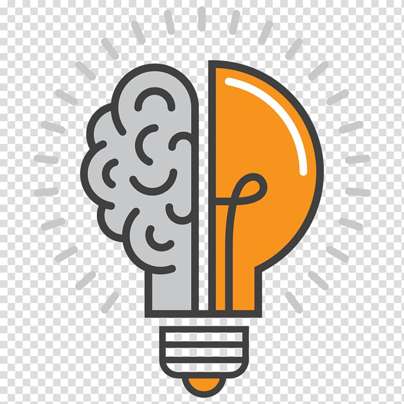 And light bulb logo. Brain clipart symbol