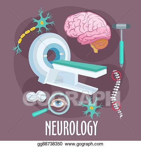 Vector art neurology flat. Brain clipart symbol