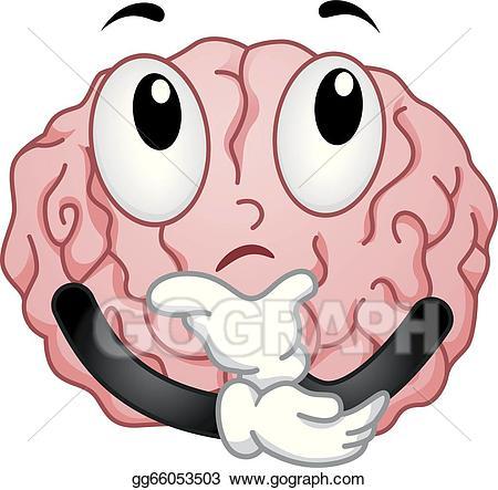 Vector mascot illustration. Brain clipart thinking
