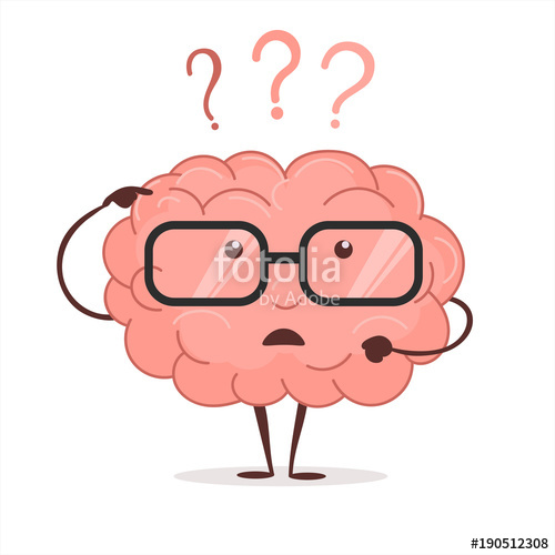 Brainstorm clipart brain. Cartoon with questions and