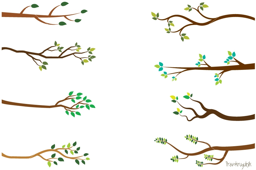 Branch clipart. Tree green leaf branches