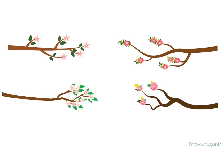 Branch clipart. Pink flower branches spring