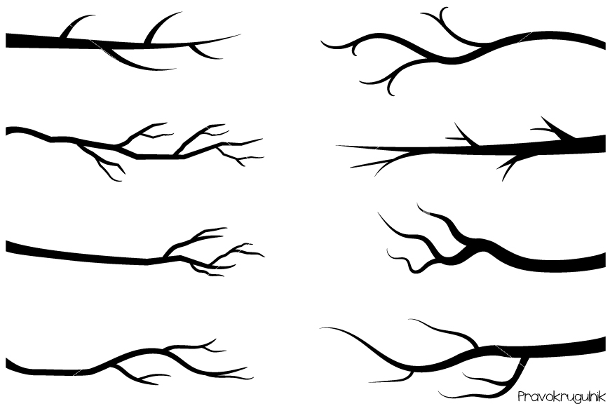 Branch clipart. Black branches tree silhouettes