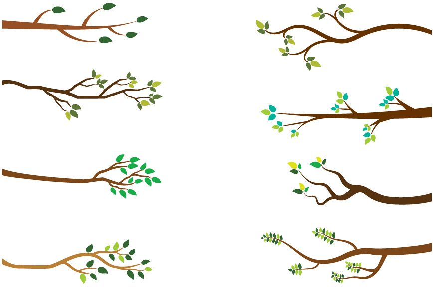Branch clipart. Tree branches green leaves