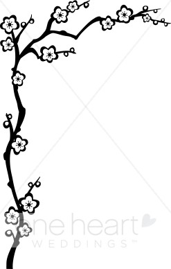 Wedding accents. Branch clipart black and white
