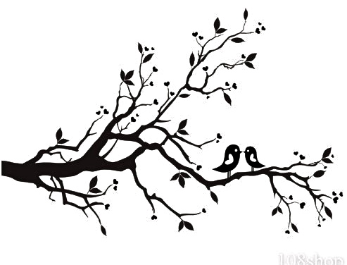 Simple tree branches panda. Branch clipart black and white