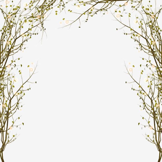 Border pattern creative . Decorative clipart branch