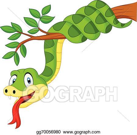 Snake clipart branch. Vector art cartoon green