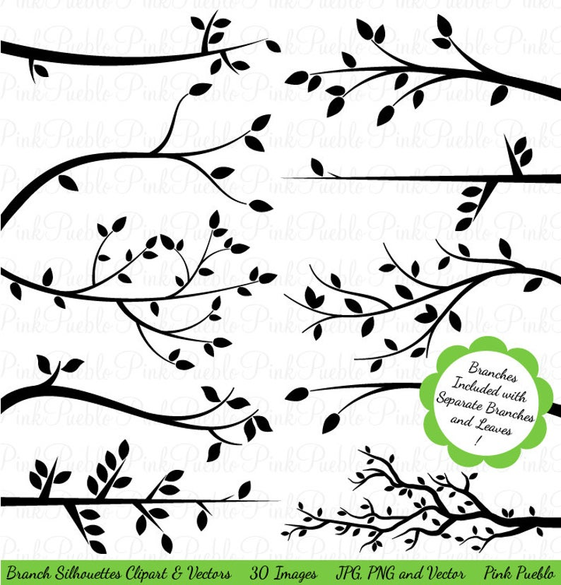 Branch clipart clip art tree. Silhouettes vectors commercial and