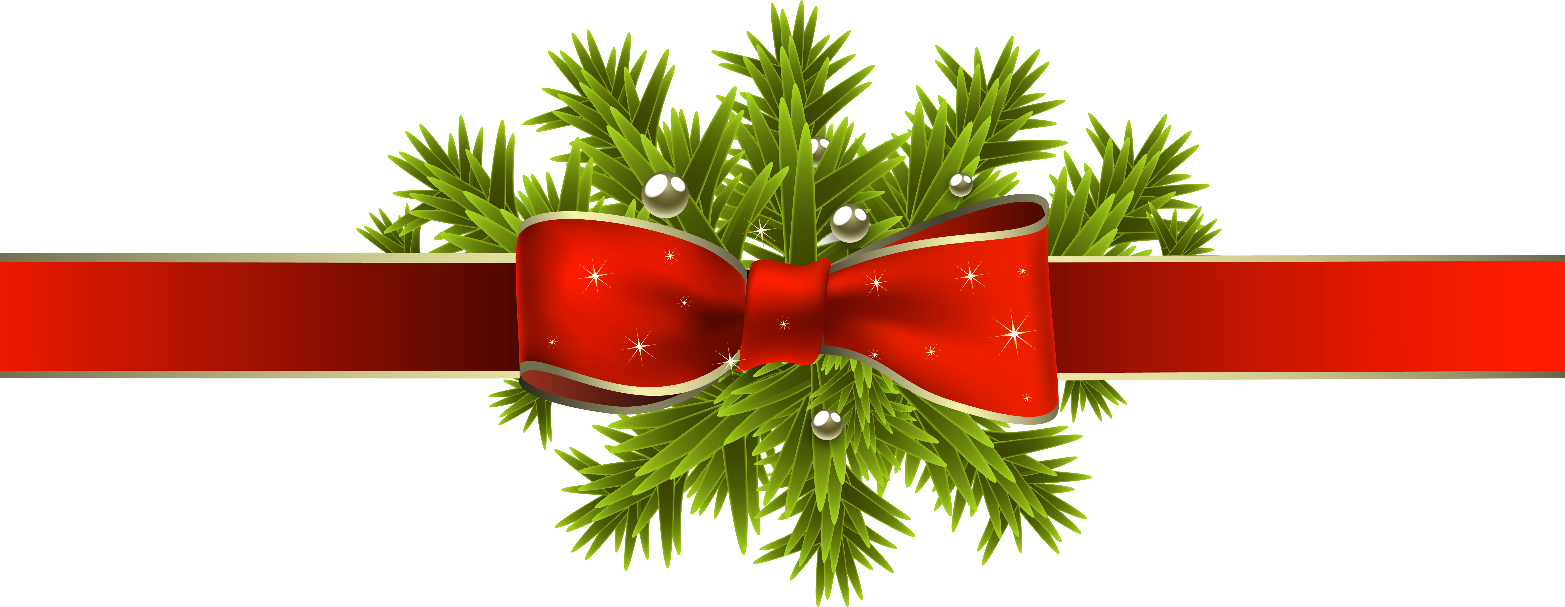 Red christmas ribbon with. Branch clipart clipart transparent background
