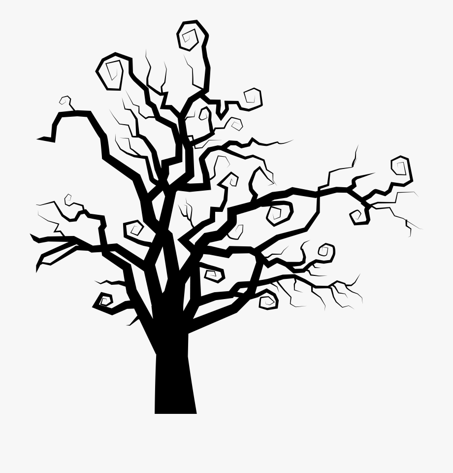 The clip art spooky. Tree clipart halloween