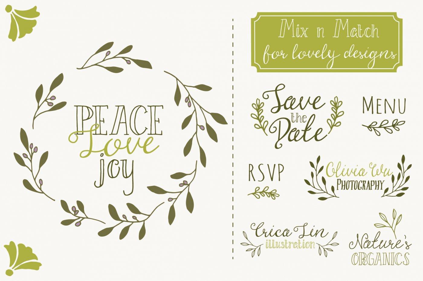 Branch clipart font. Olive clip art vectors