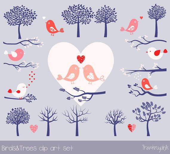Branch clipart font. Love bird set pink