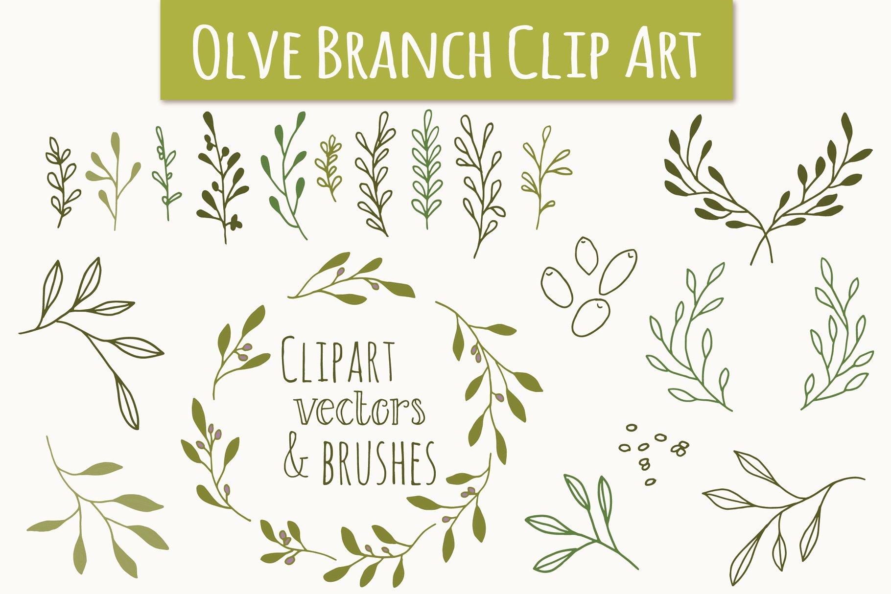Olive clip art vectors. Branch clipart font