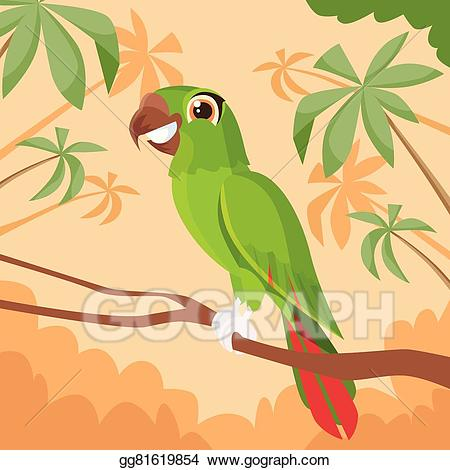 Branch clipart jungle. Eps vector parrot sitting