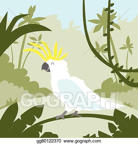 Vector art parrot white. Branch clipart jungle