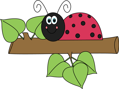 Ladybug clipart branch. On a insects dragonfly