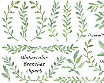 Leaf etsy watercolor branches. Branch clipart leave clipart