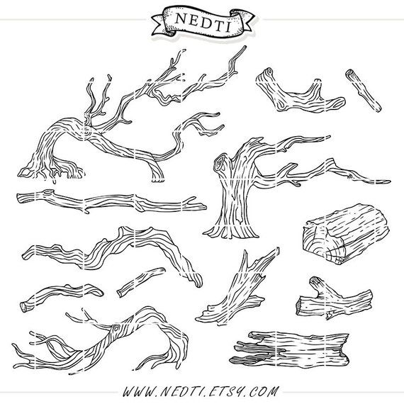Tree clip wood branches. Branch clipart line art