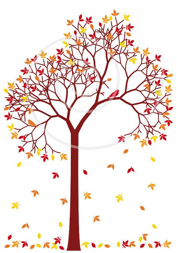 Tree with colorful leaves. Autumn clipart branch