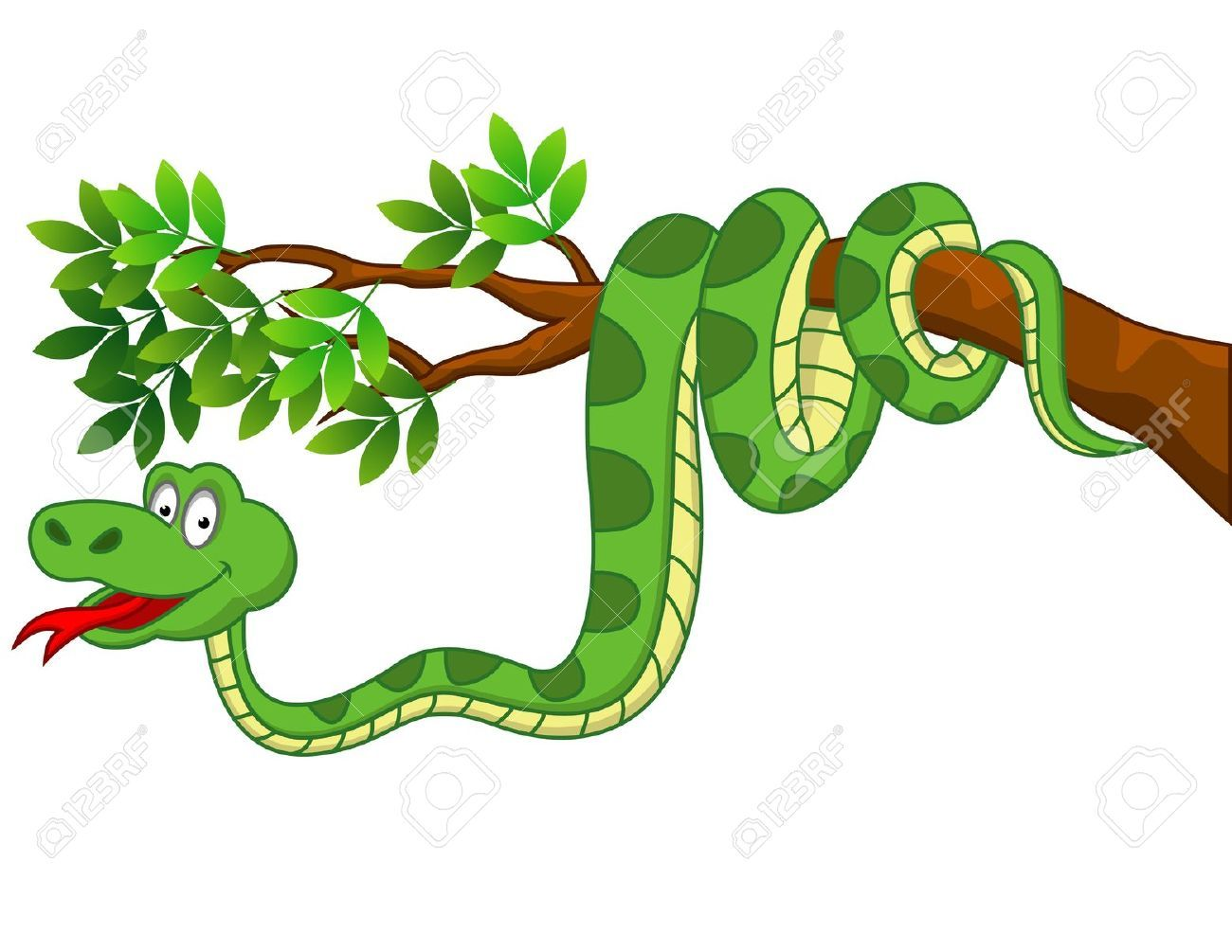 Stock vector cartoon snakes. Snake clipart branch