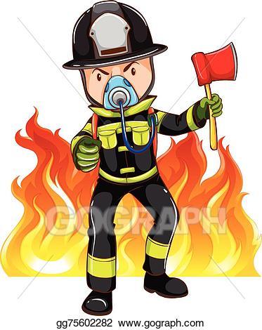 Vector illustration a eps. Fireman clipart brave
