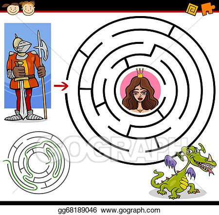 Vector art cartoon maze. Brave clipart preschool