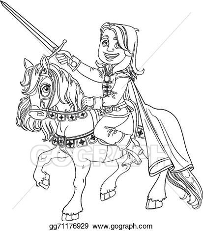 Vector illustration charming on. Brave clipart prince