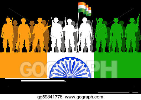 Brave clipart soldier indian. Vector art salute to