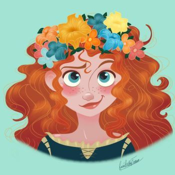 Merida flower crown by. Brave clipart valiente