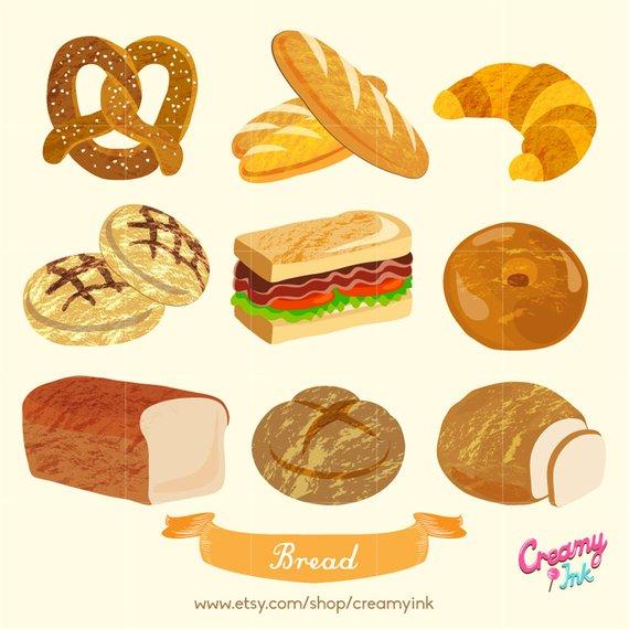 Bakery digital vector clip. Bread clipart baked goods