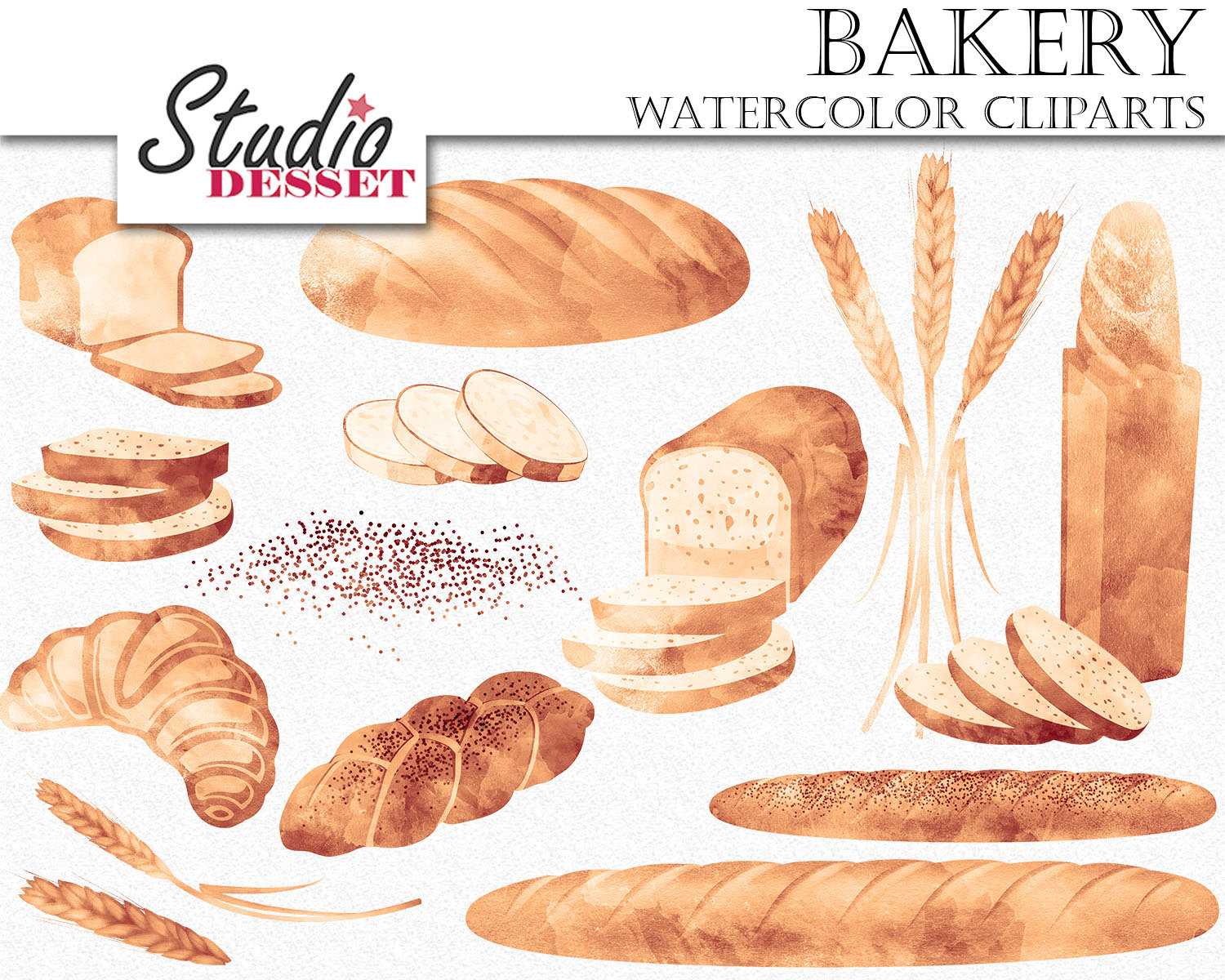Cliparts watercolor bakery graphics. Bread clipart baked goods