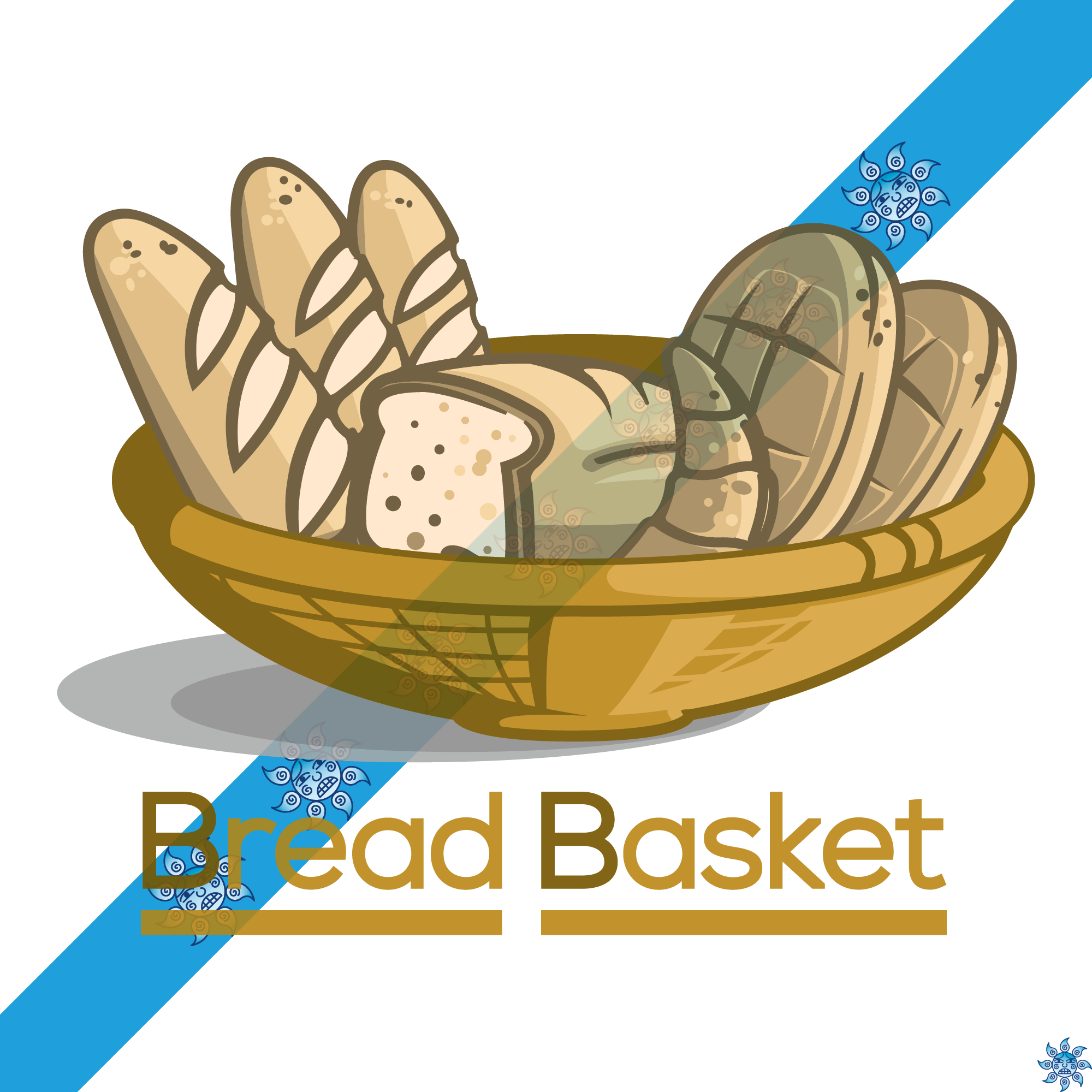 Logo under stress design. Clipart bread bread basket