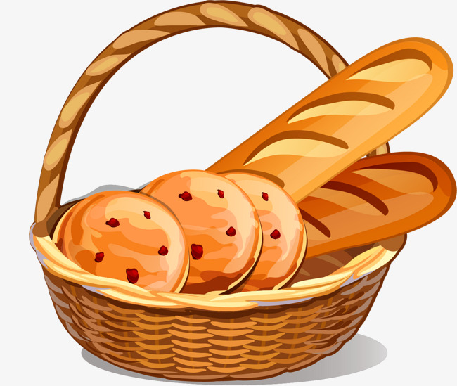 Bread clipart bread basket. Vector painted hand png