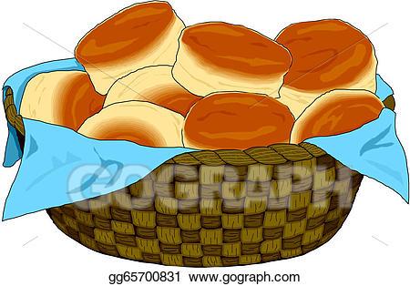 Eps vector stock illustration. Clipart bread bread basket