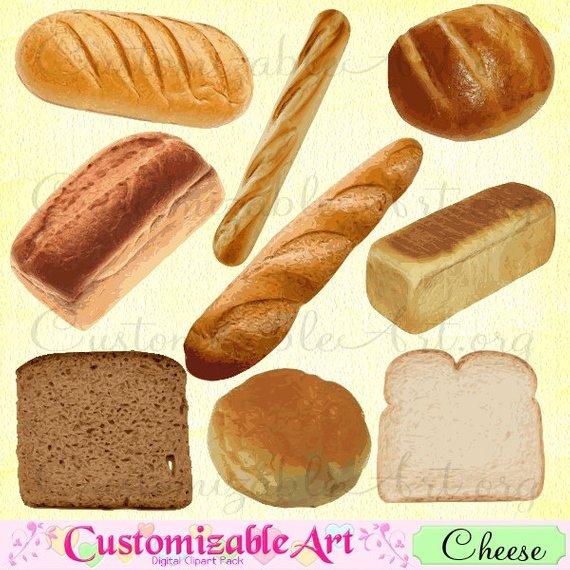 Digital clip art scrapbook. Bread clipart bread french