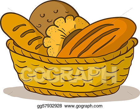 Bread clipart bread roll. Vector in a basket