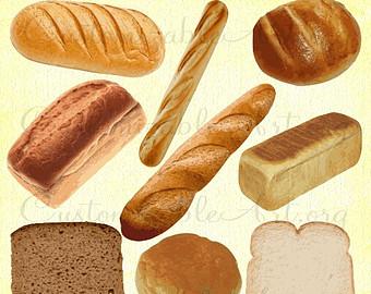 Bread clipart bread roll. Etsy digital clip art