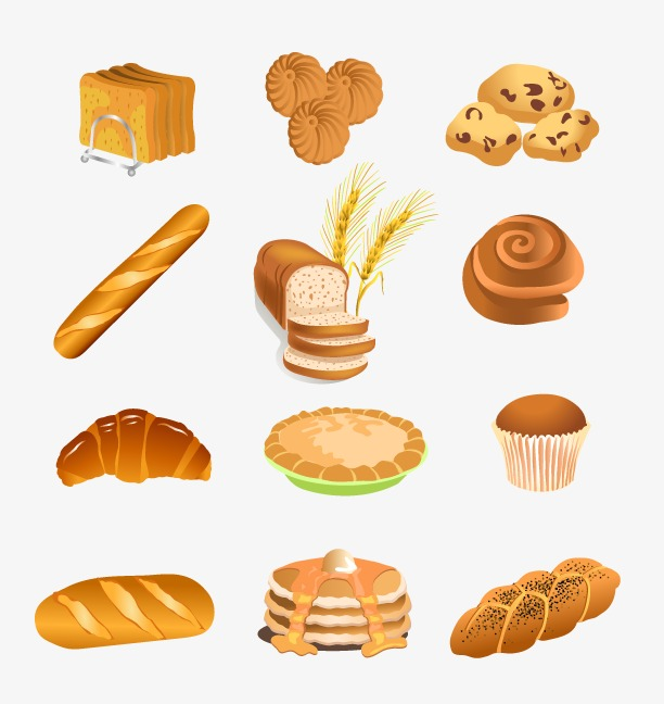 Hand painted all kinds. Bread clipart breakfast bread