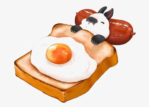Bread clipart breakfast bread. Omelet hand painted rabbit