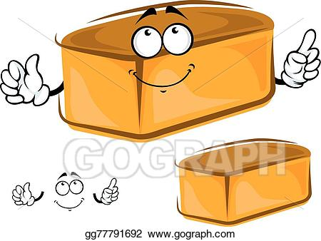 Bread clipart character. Eps illustration funny loaf