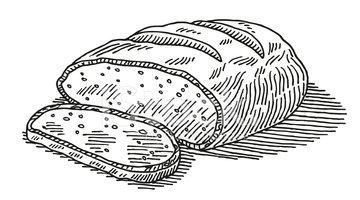Loaf cut stock vectors. Bread clipart drawing