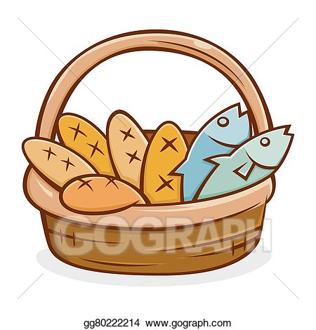 Eps illustration five and. Bread clipart fish