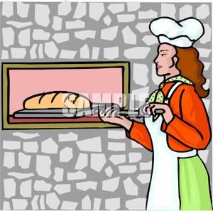 Woman baking a loaf. Bread clipart homemade bread