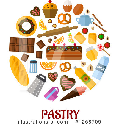 Illustration by vector tradition. Bread clipart pastry