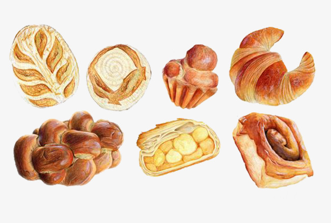 Cartoon breakfast cake png. Bread clipart pastry