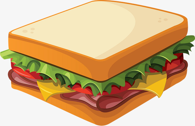 Bread clipart sandwhich. Hand painted sandwich graphic
