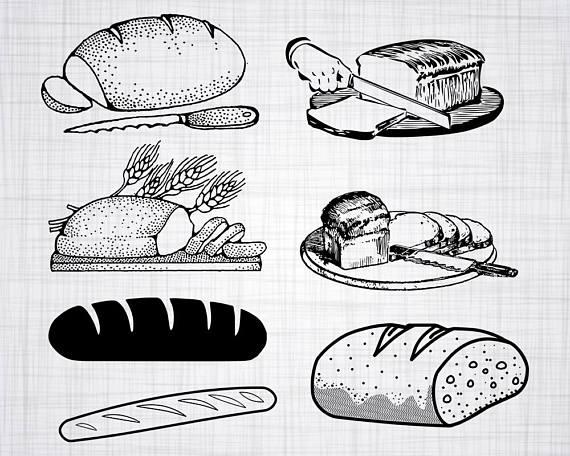 Svg bundle cut files. Bread clipart silhouette