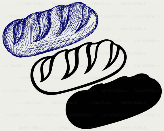 Long loaf svg food. Bread clipart silhouette